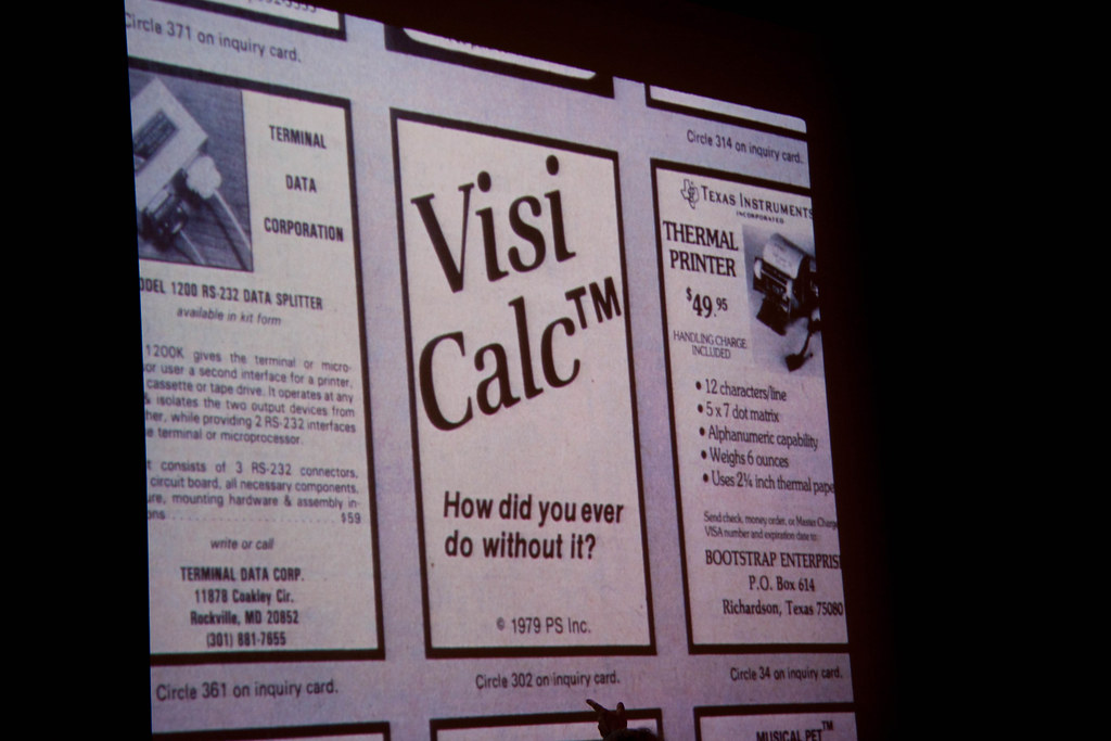 Slide from Dan Bricklin's presentation showing an advert for Visi-Calc